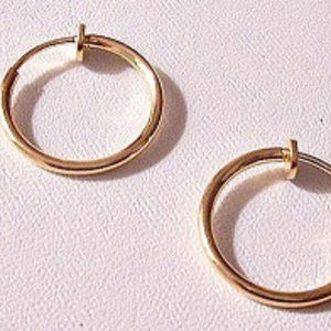 """Thin Tube 3/4"""" 17mm Hoops Clip On Earrings Gold"""
